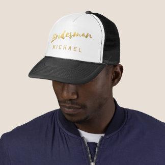Faux Gold Foil Bridesman Wedding Trucker Hat