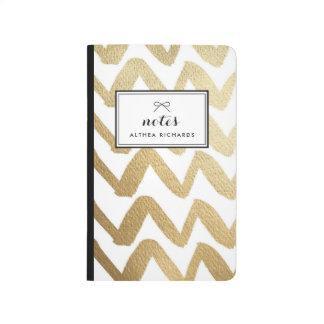 Faux Gold Foil Brush Chevron Pattern Personalized Journal
