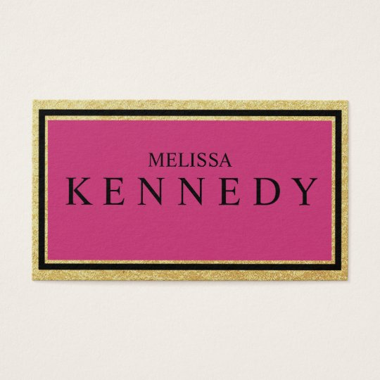 Faux Gold Foil Business Cards Hot Pink