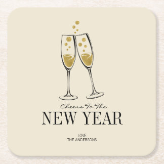 Faux Gold Foil Cheers New Year's Paper Coasters