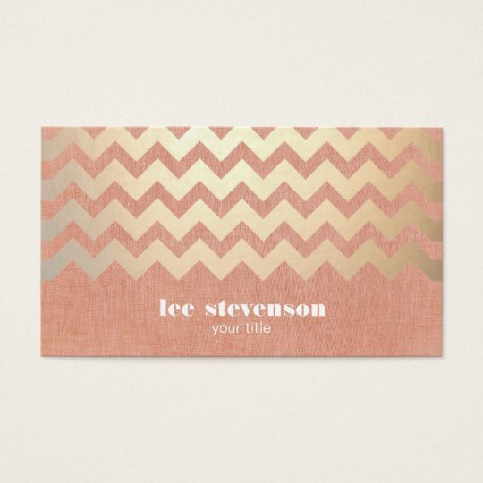 Faux Gold Foil Chevron and Peach Linen Look Hip Business Card