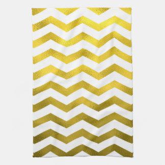 Faux Gold Foil Chevron Pattern White Metallic Hand Towels