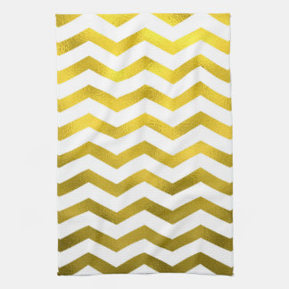 Faux Gold Foil Chevron Pattern White Metallic Tea Towel