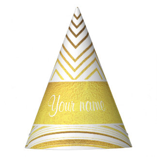 Faux Gold Foil Chevrons and Stripes Party Hat