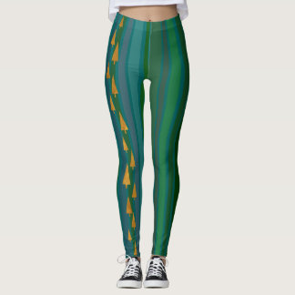 Faux Gold Foil Christmas Trees w/ Green Stripes Leggings