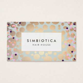 Faux Gold Foil Circles Confetti Appointment Card 2