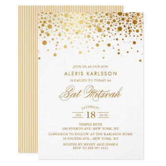 Faux Gold Foil Confetti Bat Mitzvah Invitation