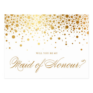 Faux Gold Foil Confetti | Be My Maid of Honour Postcard