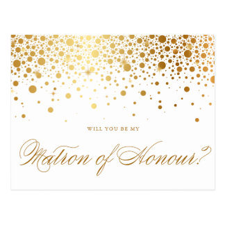 Faux Gold Foil Confetti | Be My Matron of Honour Postcard