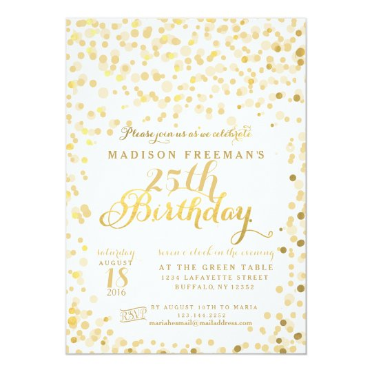 Faux Gold Foil Confetti Birthday Party Card