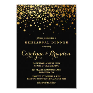 Faux Gold Foil Confetti | Black Rehearsal Dinner 13 Cm X 18 Cm Invitation Card