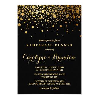 Faux Gold Foil Confetti | Black Rehearsal Dinner 13 Cm X 18 Cm Invitation Card