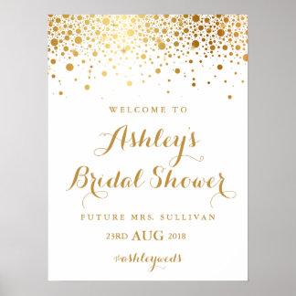 Faux Gold Foil Confetti Bridal Shower Poster