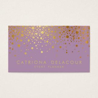 Faux Gold Foil Confetti Business Card | Lilac