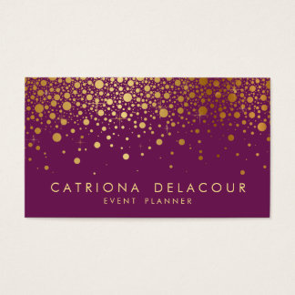 Faux Gold Foil Confetti Business Card | Purple II