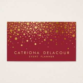 Faux Gold Foil Confetti Business Card | Red