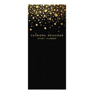 Faux Gold Foil Confetti Business Rack Card | Black