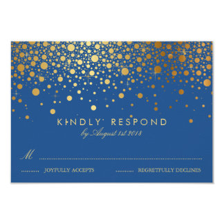 Faux Gold Foil Confetti Dots Blue RSVP Card