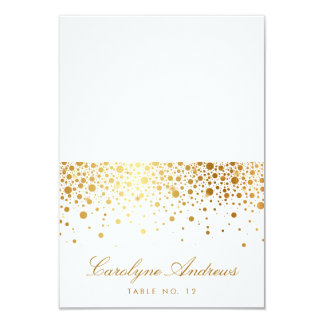 Faux Gold Foil Confetti Dots Elegant Place Card II