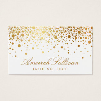 Faux Gold Foil Confetti Dots Elegant Place Cards