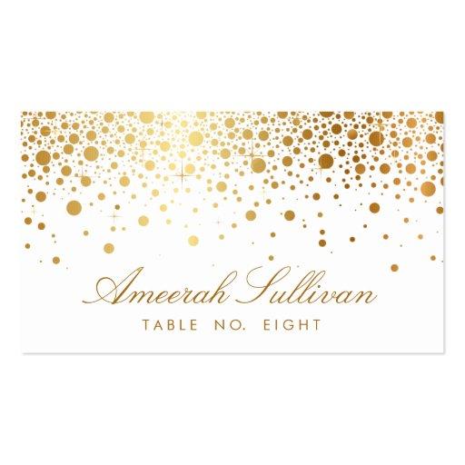 Faux Gold Foil Confetti Dots Elegant Place Cards Business Cards