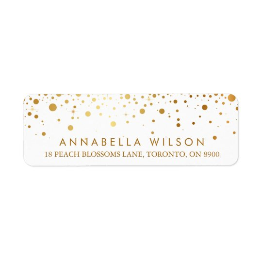 Faux Gold Foil Confetti Dots Modern Return Address Label