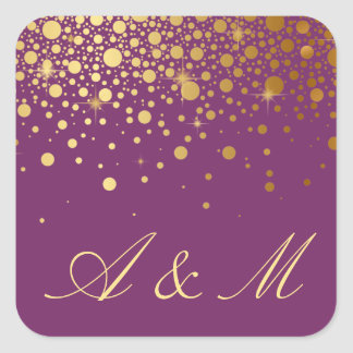 Faux Gold Foil Confetti Dots Purple Monogram Square Sticker