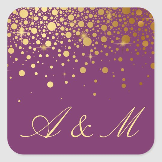 Faux Gold Foil Confetti Dots Purple Monogram Square