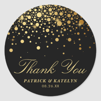 Faux Gold Foil Confetti Dots Thank You | Black Classic Round Sticker