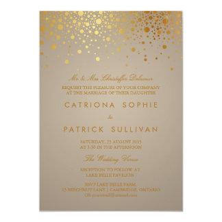 """Faux Gold Foil Confetti Dots Wedding Invitation 5"""" X 7"""" Invitation Card"""