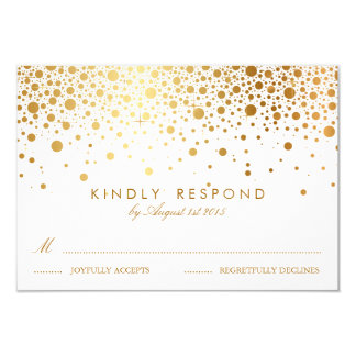 Faux Gold Foil Confetti Dots Wedding RSVP Card 9 Cm X 13 Cm Invitation Card