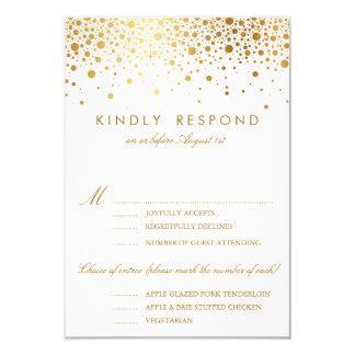 Faux Gold Foil Confetti Dots Wedding RSVP Card 9 Cm X 13 Cm Invitation Card