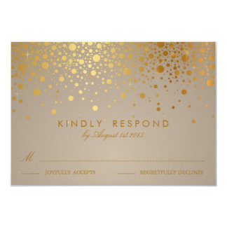 Faux Gold Foil Confetti Dots Wedding RSVP Card II 9 Cm X 13 Cm Invitation Card
