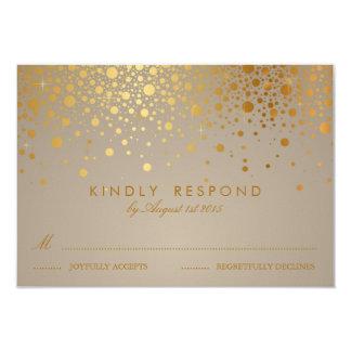 "Faux Gold Foil Confetti Dots Wedding RSVP Card II 3.5"" X 5"" Invitation Card"