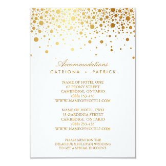Faux Gold Foil Confetti Elegant Accommodations Car 9 Cm X 13 Cm Invitation Card