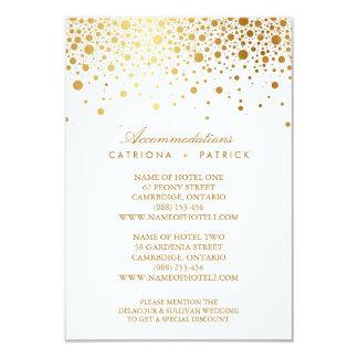 Faux Gold Foil Confetti Elegant Accommodations Car 3.5x5 Paper Invitation Card