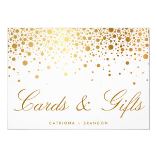 Faux Gold Foil Confetti Elegant Cards & Gifts Sign 13 Cm X 18 Cm Invitation Card