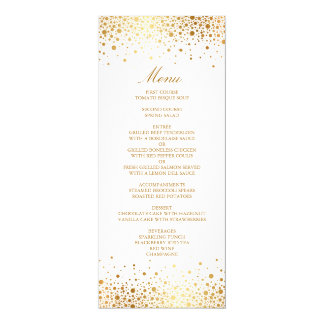 Faux Gold Foil Confetti Elegant Menu Card 10 Cm X 24 Cm Invitation Card