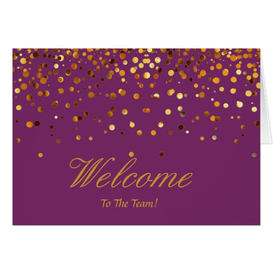 Faux Gold Foil Confetti Elegant Sparkles Welcome Card