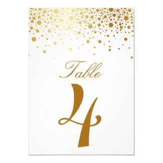 Faux Gold Foil Confetti Elegant Table Number Card 13 Cm X 18 Cm Invitation Card