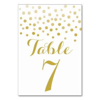 Faux Gold Foil Confetti Elegant Table Number Card Table Cards