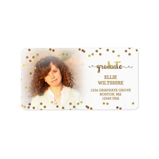 Faux Gold Foil Confetti Graduation Photo Label