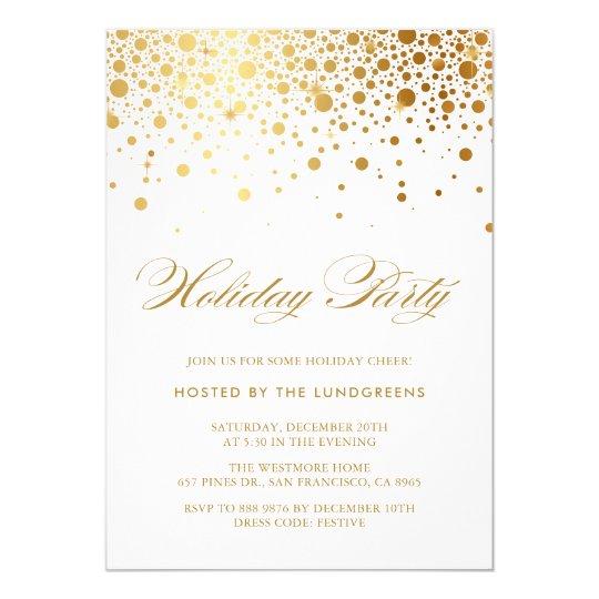 Faux Gold Foil Confetti Holiday Party Invitation