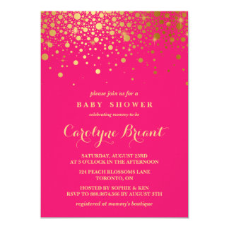 Faux Gold Foil Confetti | Hot Pink Baby Shower 13 Cm X 18 Cm Invitation Card