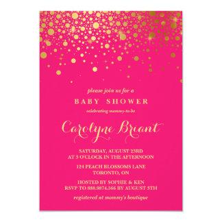 Faux Gold Foil Confetti   Hot Pink Baby Shower 13 Cm X 18 Cm Invitation Card