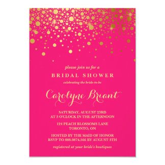 Faux Gold Foil Confetti | Hot Pink Bridal Shower Card