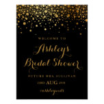 Faux Gold Foil Confetti Modern Black Bridal Shower Poster