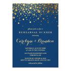 Faux Gold Foil Confetti | Navy Rehearsal Dinner Card