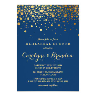 Faux Gold Foil Confetti | Navy Rehearsal Dinner Card