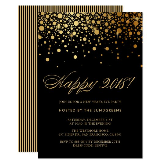 Faux Gold Foil Confetti New Year's Eve Party